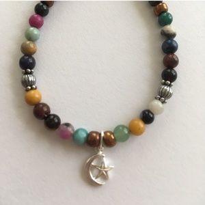 Gemstone beaded Charm bracelet